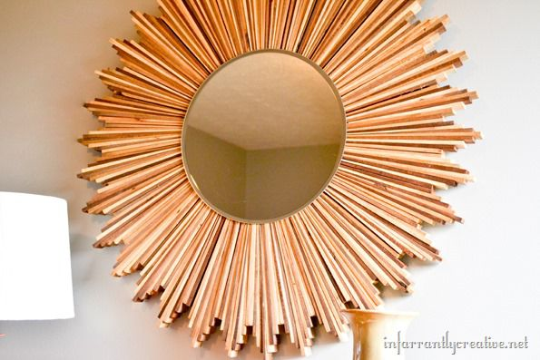 Wood Shim Starburst Mirror | 30 Amazing DIY Mirrors
