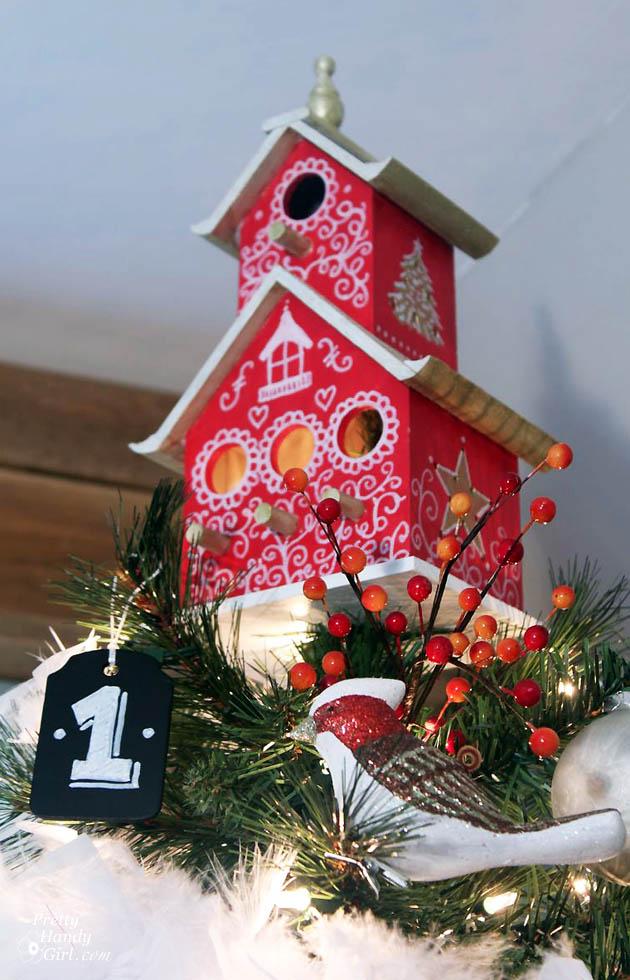 Christmas Birdhouses.Painted Bird House Tree Topper Pretty Handy Girl