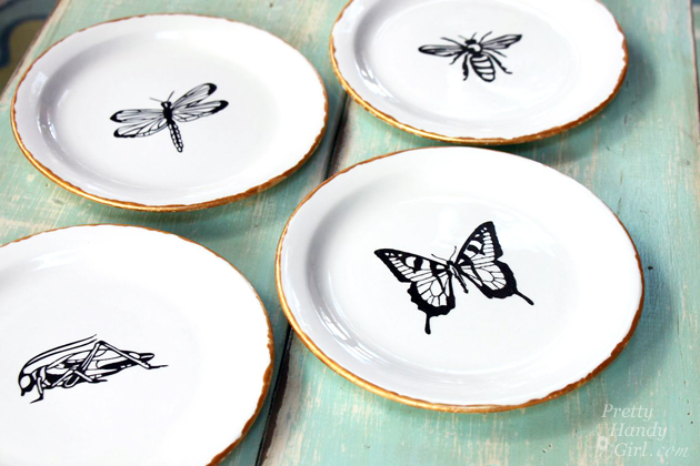 pen and ink sketch decorative plates
