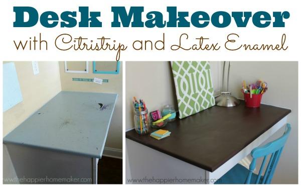 desk makeover sitristrip latex enamel