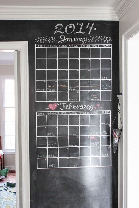 2014 chalkboard calendar wall