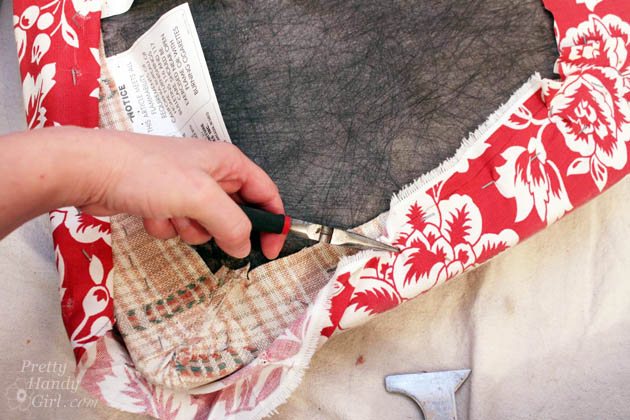 How to Re-upholster a Seat and Protect the Fabric | Pretty Handy Girl