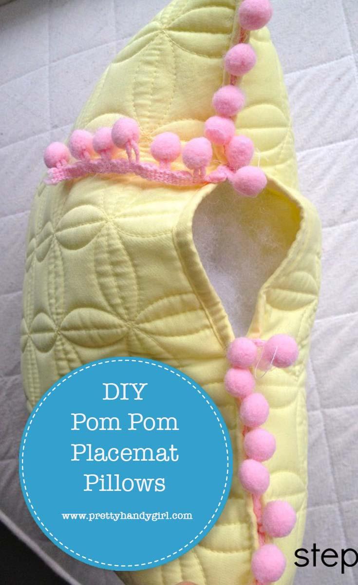 DIY Pom Pom Placemat Pillows