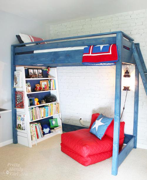 Blue Loft Bed Kids Room