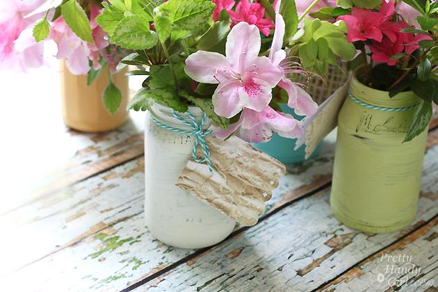 Farmhouse Painted (chalk like paint) Jar Vases   Pretty Handy Girl