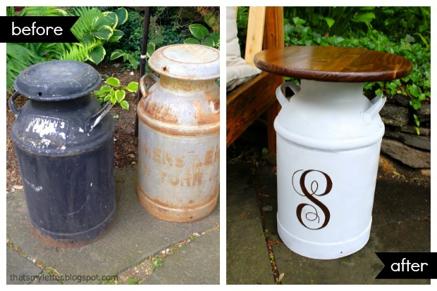 milk jug side table before after