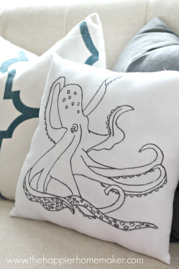 diy anthropologie knock off octopus pillow