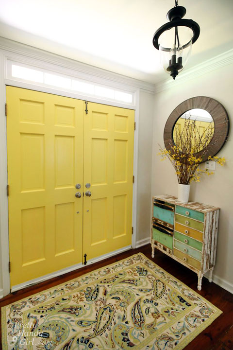 Benjamin Moore Yellow Highlighter Painted Interior Doors | Pretty Handy Girl