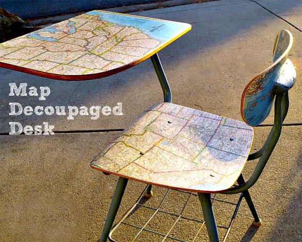 Map Decoupaged Desk Chair