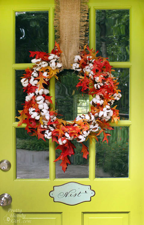 fall orange and red wreath by pretty handy girl