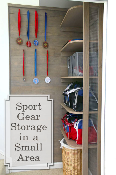 Sport Gear Storage in a Small Space | Pretty Handy Girl
