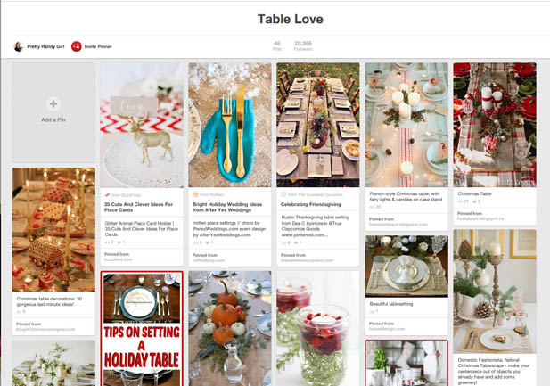 Pinterest board of Tablescapes