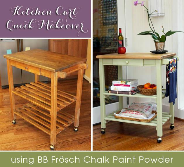 quick kitchen cart makeover with bb frösch chalk powder