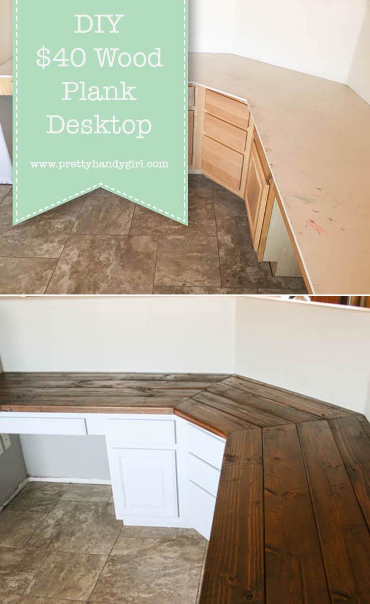 Terrific Build A Wood Plank Desktop For About 40 Interior Design Ideas Helimdqseriescom
