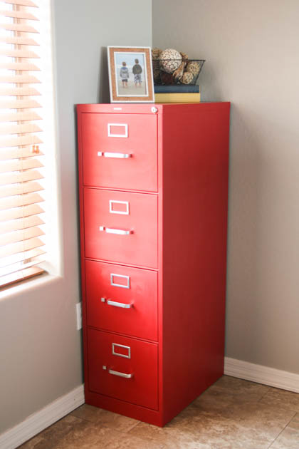 Red File Cabinet Makeover using Chalk Paint