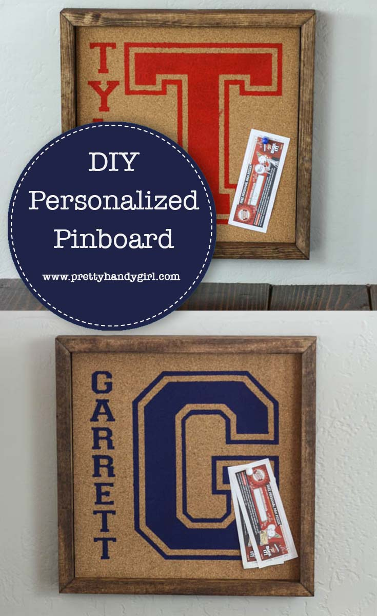 Add organization to your desk with this personalized pinboards from Pretty Handy Girl | Office organization | DIY pinboard #prettyhandygirl #DIY #pinboard