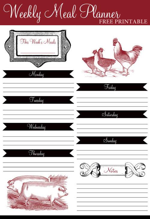 vintage farm weekly meal planner  free printable
