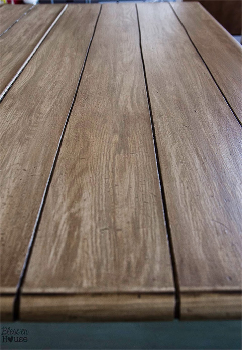 Faux Plank Table Top by Bless'Er House