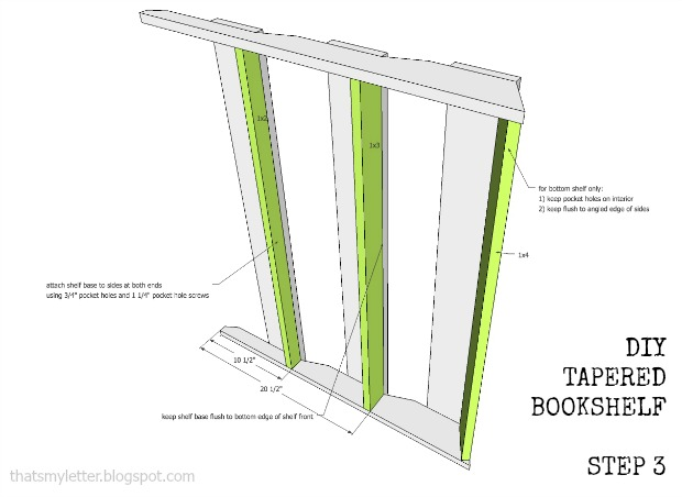 bookshelf tapered step 3 plans