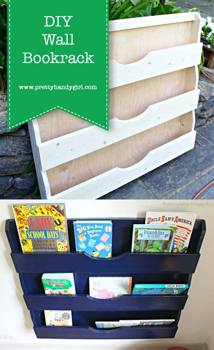 DIY wall bookrack with free plans to build your own | Pretty Handy Girl