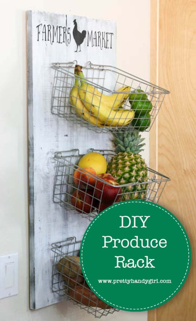 wooden produce rack