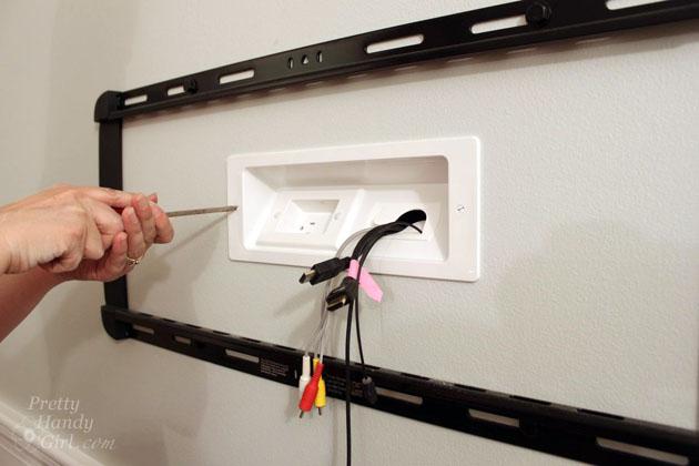 wall mounted tv with hidden wires tutorial rh prettyhandygirl com wall mount tv wiring accessories wall mount tv wiring diagram