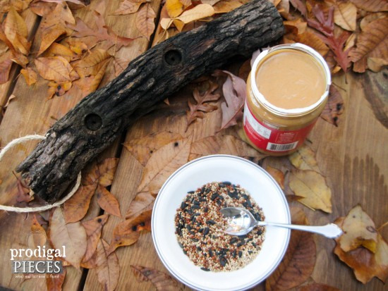 Give your feathered friends a treat from spingtime through winter. Make this easy-peasy DIY log bird feeder with one tool and a few basic materials by Prodigal Pieces for Pretty Handy Girl www.prodigalpieces.com #prodigalpieces