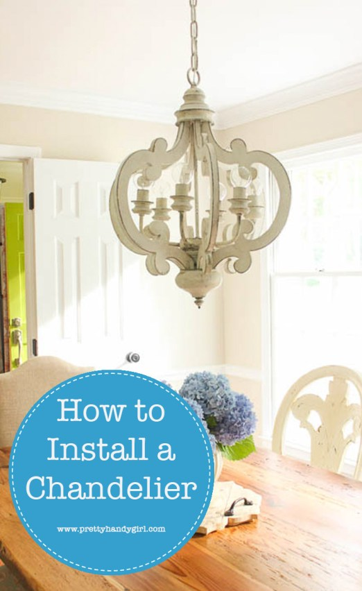 Wish you knew How to Install a Chandelier, so you don't have to hire an electrician to do it? Check out this step-by-step tutorial from Pretty Handy Girl! | How to install a light fixture | Lighting tutorial #prettyhandygirl #DIYtutorial
