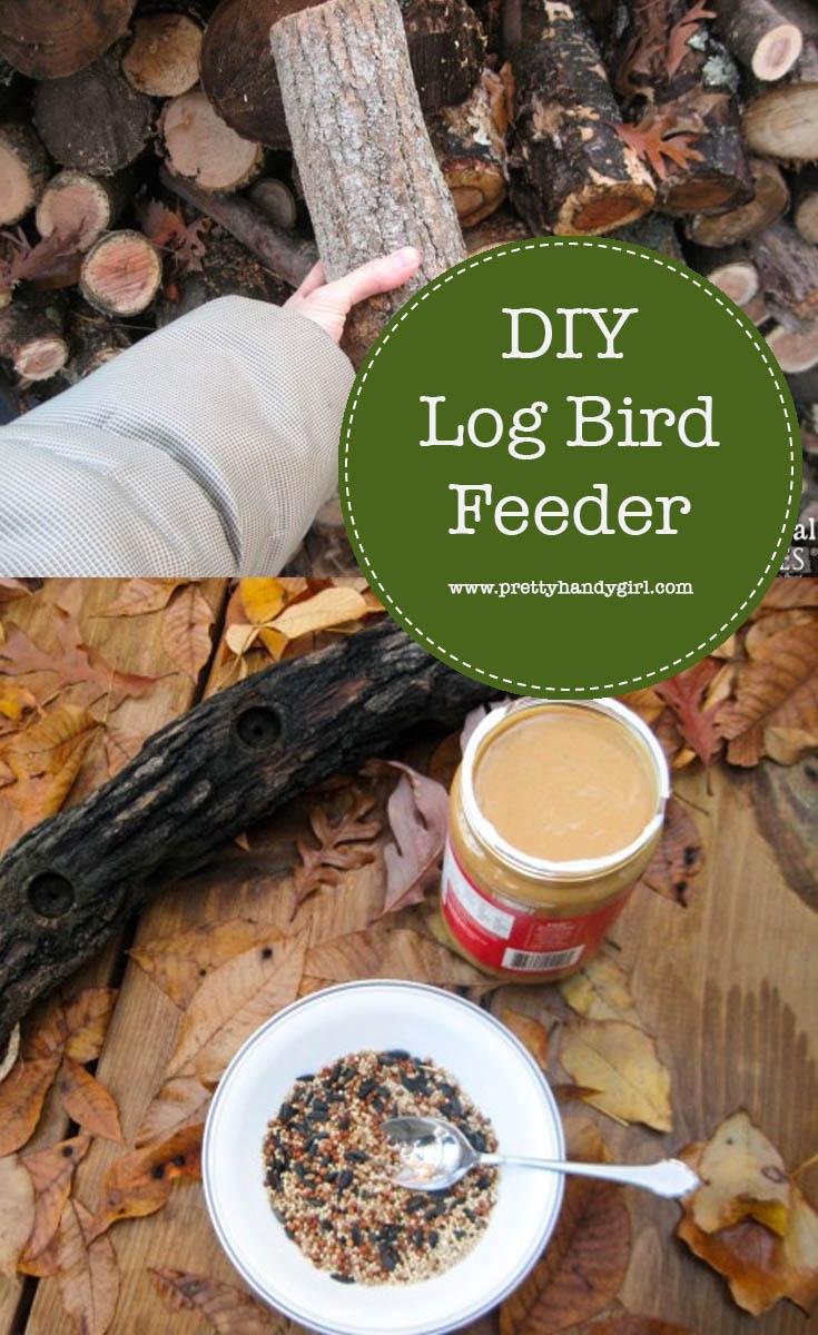 Easily make this bird feeder made from a piece of firewood and rope. | DIY bird feeder | Pretty Handy Girl #prettyhandygirl #DIY #birdfeeder
