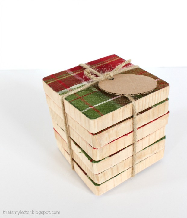 fabric & wood coasters wrapped