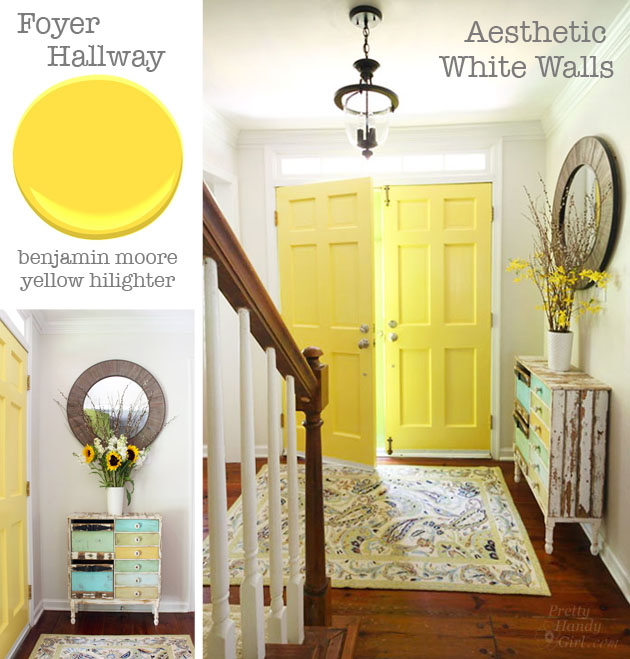 Interior Doors - Benjamin Moore Yellow Hilighter | Pretty Handy Girl