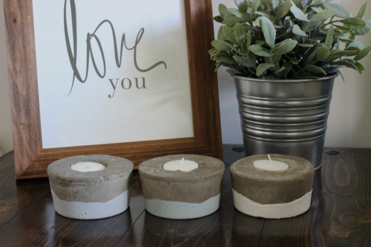 Concrete Tea Light Candle Holders | Pretty Handy Girl