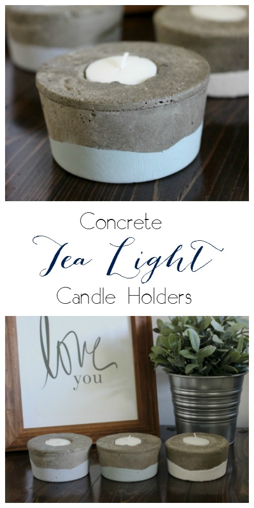 Concrete Tea Light Candle Holders | Pretty Handy Girl