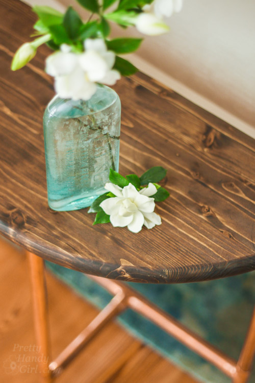 Half Round Copper & Wood Side Table | Pretty Handy Girl