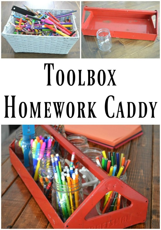 Get organized before the school year creeps up on you. This toolbox homework caddy will help your kids find everything they need. | Toolbox Homework Caddy