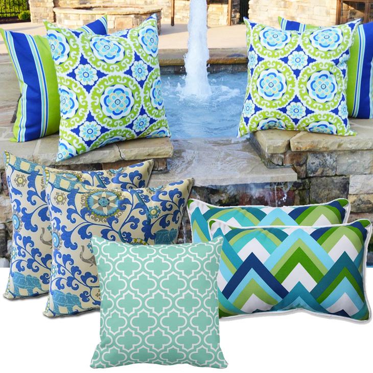 Blue Green Outdoor Pillows