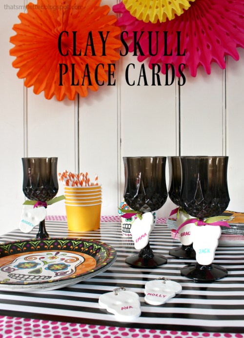Clay Skull Placecards   Pretty Handy Girl