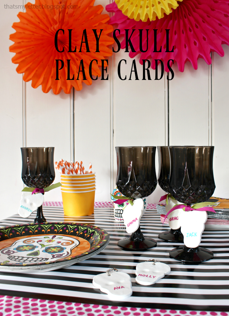 clay skull place cards title
