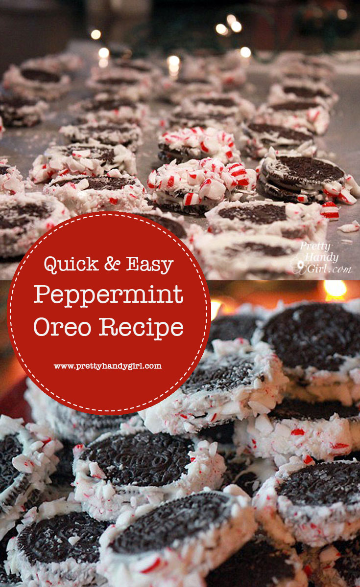 Want a quick and easy holiday recipe you can make with the kids? When you don't have time to bake, but you still want to give a homemade holiday treat, try this recipe for Peppermint Oreos! | Pretty Handy Girl #prettyhandygirl #oreorecipe #holidayrecipe