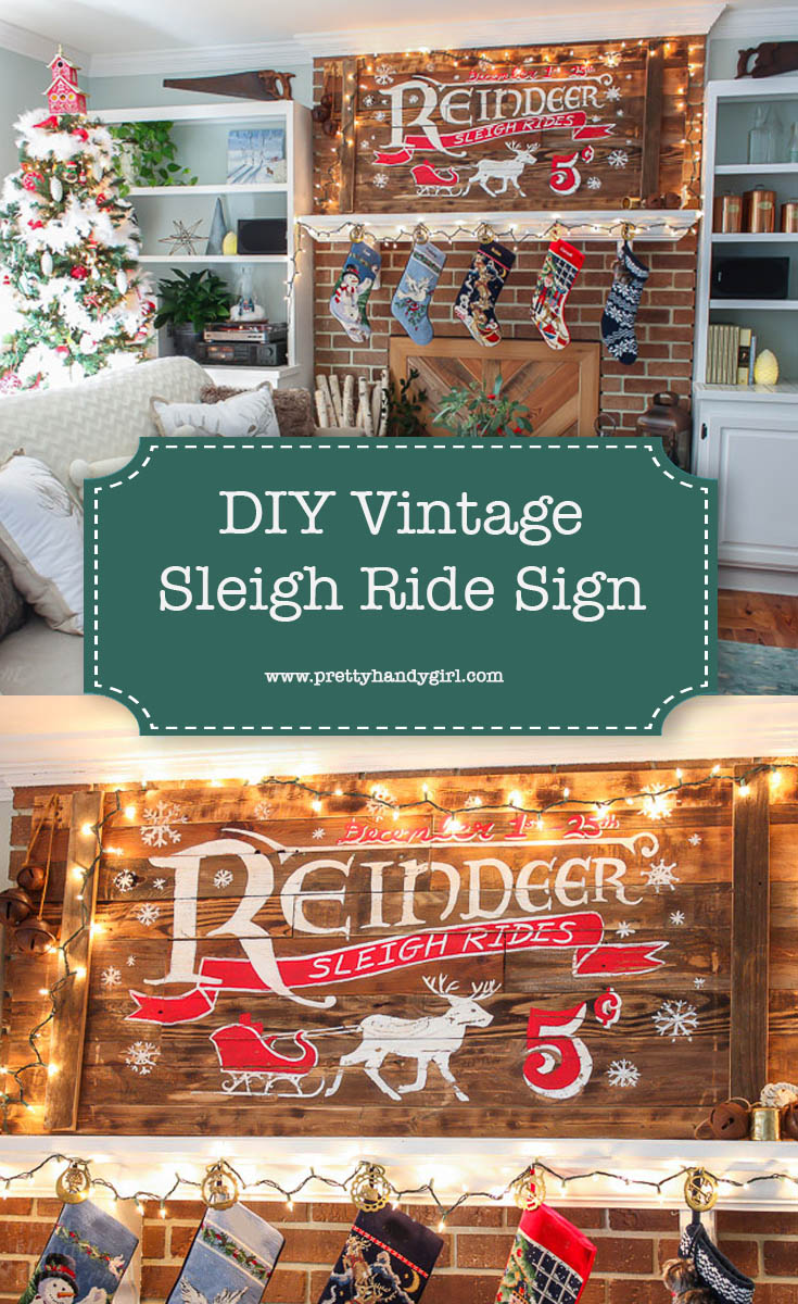 Add vintage charm to your holiday home with this DIY Reindeer Sleigh Sign | Pretty Handy Girl #DIYholiday #holidayhome #holidaysign