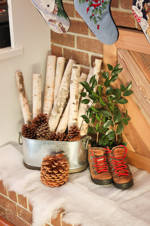 clever holiday decor - birch log and pinecones