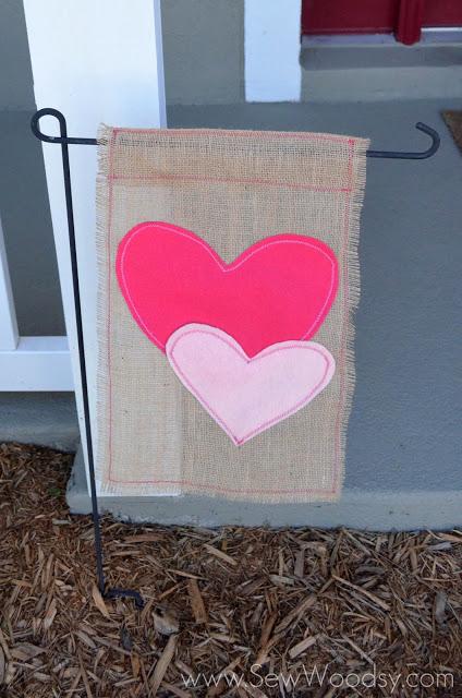 Valentine Burlap Flag