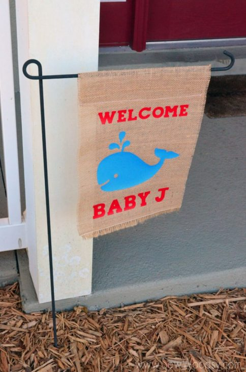 Welcome Baby J Whale Flag