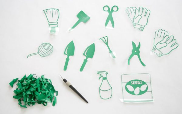 Each design corresponds to an item to be stored in the hanging garden tool organizer.