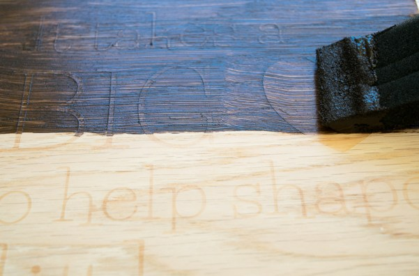 Use gel stain over the glue stencil of the teacher sign.
