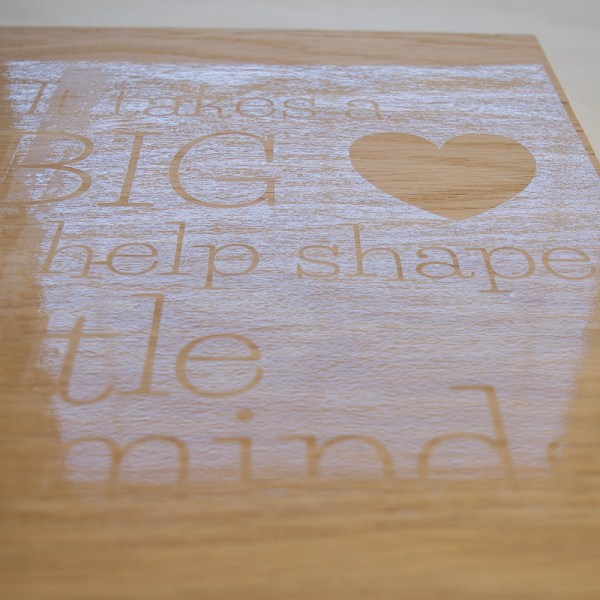 Apply the stencil to the plywood for your teacher sign.