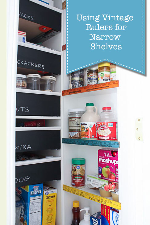 How to Use Vintage Rulers for Narrow Pantry Shelf Stops | Pretty Handy Girl