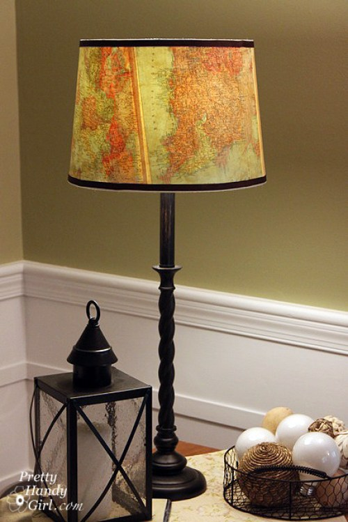 Vintage Map Lampshade - Best Lighting DIYs - Pretty Handy Girl