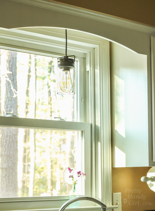 Rustic Jar Pendant Light over kitchen sink - best lighting diys