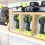 This cordless drill storage, together with the circular saw stand, make it easy to find the tools I need.